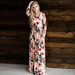 Long Length Hair Styles NZ - Hot style women's wear hot sale and the United States hair long-sleeve printed floral dresses long skirt