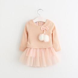 China 2019 New Design Girls Dress Long Sleeve knit wool ball mesh gauze dress Girls Spring  Autumn Kids Dress For Girl cheap dresses design for kids girl suppliers