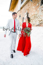chiffon boho length wedding dress Australia - Modest Red Wedding Dresses Boho Top Lace Chiffon Beach Wedding Dress Long Sleeves Sexy V Neck Floor Length Long Bohemian Bride Gowns Cheap