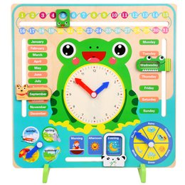 teaching aids for year UK - Wooden Montessori Toys Baby Weather Season Calendar Clock Time Cognition Preschool Education Teaching Aids Toys For Children