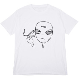 dc3f524f4 Women s Summer Fashion Pop T-shirt Alien Smoking Print Funny Casual Short  Sleeve T-shirt Female O-Neck Tops Tees