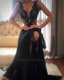 Wholesale black fashion tops images for sale – custom Black Spaghetti Straps Chiffon Long Evening Dresses Illusion Lace Top Split Ruffles Floor Length Formal Prom Party Dresses BC1918