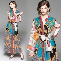 b5b3e2717c753 Vestito da donna vintage con scollo a V e maniche lunghe a stampa floreale  impero a maniche lunghe con maniche impreziosite