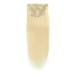 "Clip Human Hair Extensions Blonde Straight UK - 7pcs set Remy Human Hair 14"" 16"" 18"" 20"" Clip hair extension White Blonde (#60) 100g Clip In Hair Extensions"