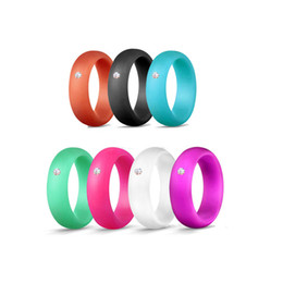 Silicon jewelry online shopping - Girls fashion silicon rings mix color silicon ring with rhinestone mm width ring party jewelry