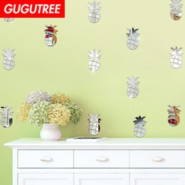 crystal mirror art Canada - Decorate Home 3D pineapple cartoon mirror art wall sticker decoration Decals mural painting Removable Decor Wallpaper G-255