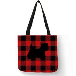83723fa3b70f Westie Dog Silhouette Printing Casual Tote Bag For Women Plaid Design Hand Shoulder  Bag Portable Travel Shopping Bags
