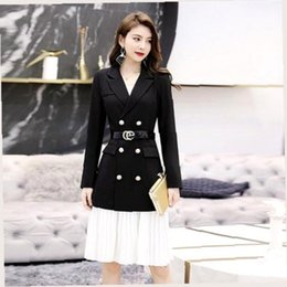 Discount chiffon blazers - YASUGUOJI New 2019 Office Lady Double Breasted Black Blazer with White Pleated Dress Suits Women Chiffon Womens Suits Dr
