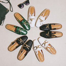 Big Toes Slippers Australia - Plus size woman mules shoes big size sandals tassel chains metal buckle design slippers square toe back strap mules