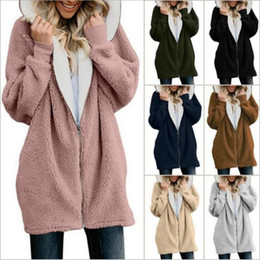 Wholesale sherpa jacket women resale online - Women Hoodies Plush Sherpa Sweatshirts Hooded Outerwear Zipper Coat Warm Sweater Outdoor Casual Pullover Outwear Casual Jacket Jumper B5988
