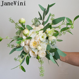 $enCountryForm.capitalKeyWord Australia - JaneVini Green Eucalyptus Leaves Bride Wedding Flower Bouquets Rose White Bridal Bouquet Beaded Artificial Ivory Peony Brooch Handmade