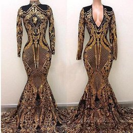 5d1c24c89fb 2019 Vintage Yousef Aljasmi High Neck Prom Dresses Black And Gold Sweep  Train Luxury Mermaid Long Sleeve Formal Evening Gowns