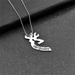 pendant couple kissing Canada - Kissing Heart Minimalist Hollow Heart Shape Pendant Couples Lovers Gifts 2 Pcs Deer Hunting Her Buck His Doe Necklaces