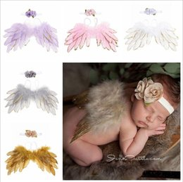 Yellow feather wings online shopping - Kawaii Toddler Angel feather wings leaf flower head band Photography Props newborn Gold and silver side