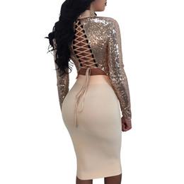 a95d9575b680 2 piece set women sexy sequins crop top and skirt nightclub long sleeve  choker tie up bandage hip sparkle hollow out JZ171