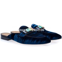 $enCountryForm.capitalKeyWord Australia - Drop Shipping Round Toe Slip On Soft Mules Men's Flat Casual Slides Shoes Crystal Diamonds Embellished Velvet Blue Slippers Man