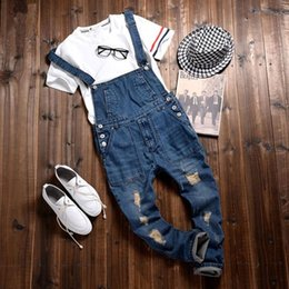 Man Fashion Jumpsuits Australia - 2017 Vintage Fashion Men's Slim Fit Skinny Bib Overalls Retro Designer Man Ripped Jeans Distressed Denim Jumpsuits Jeans