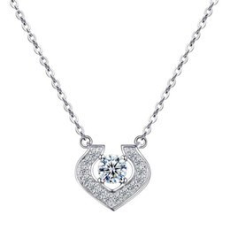 $enCountryForm.capitalKeyWord Australia - Elegant Heart Shaped Pendant Real 925 Sterling Silver CZ Diamond Necklace Jewelry with Free Gift Box for Women Wholesale