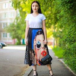 $enCountryForm.capitalKeyWord Australia - In Stock 2019 Summer Europen Print Pattern Waist Elasticity Pleated High Street A-line Women Skirts Party Casual Midi Long Skirt Y19071601