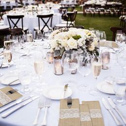 "$enCountryForm.capitalKeyWord Australia - DIY Lace Rustic Wedding Burlap Jute Tableware Fork Knife Holder Pocket Pouch Wedding Party Table Decoration 4""x8"""