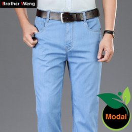 Wholesale light grey jeans resale online – designer Summer Men s Light Blue Thin Jeans Modal Fabric High Quality Business Casual Stretch Jean Trousers Male Brand Pants Dark Grey