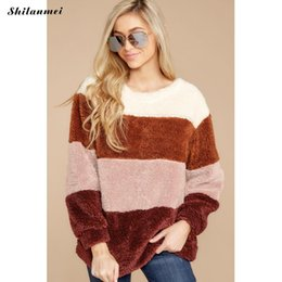 block color sweatshirts 2019 - 2019 Winter Women Fleece Hoodies Pink Long Sleeve Furry Pullover Warm Thick Striped Sweatshirt Harajuku Color Block Swea