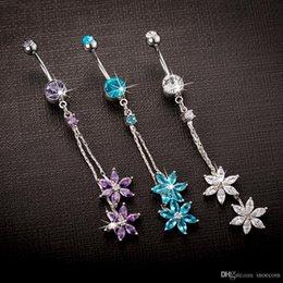 $enCountryForm.capitalKeyWord Australia - Gothic Punk Crystal Zircon Dangle Belly Button Rings For Women Stainless Steel Rhinestone Flower Tassel Body Piercing Jewelry