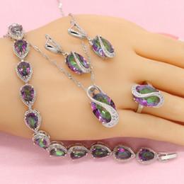 317735c9c89b ashion Conjuntos de joyería Piedra multicolor 925 Conjuntos de joyería de  plata para mujeres Bonitos aretes Collar colgante Anillo Caja de regalo  gratis ...
