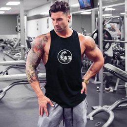Wholesale Fitness vest men s muscle training shoulder quick drying sports basketball fast drying clothes sleeveless body building men s iron Europe an