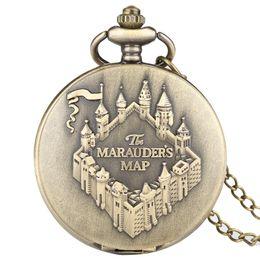 $enCountryForm.capitalKeyWord Australia - The Marauders Map Copper Pocket Watch FOB Clock Vintage Necklace Pendant Clock Women Men Chain Souvenir Gifts reloj de bolsillo