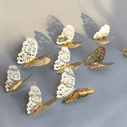 Butterfly Stickers For Papers Australia - 12 Pcs Set 3D Wall Stickers Butterfly Hollow Paper 3Sizes Silver Gold For Fridge Stickers Home Party Wedding Decor F507 D19011702