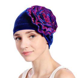 06960ec12bc48 Muslim Summer Hats UK - Muslim Womens Stretch Velvet Bead Flower Turban Hat  Cancer Chemo Beanies