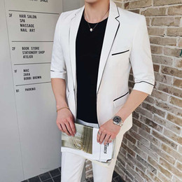 $enCountryForm.capitalKeyWord Australia - Summer White Clothing Groom Tuxedo Men Suits for Wedding Man Outfit Blazer 2Piece(Coat+Pants)Costume Homme One Buttons Slim Fit Ternos