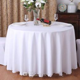 Tovaglia bianca rotonda solida del tessuto della tabella di 145cm 1PC per la tovaglia di rettangolo della decorazione della festa nuziale dell'hotel per nozze in Offerta