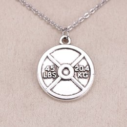 Stainless Steel Disc Charms Australia - New Fashion Tibetan Silver Pendant barbell disc weight 45lbs 20.4kg 24mm Choker Charm Short Long DIY Necklace Factory Price Handmade Jewelry