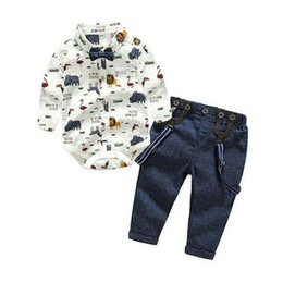 boy chinese suit Australia - Baby Boy Clothes Toddler Boy Wedding Christening Tuxedo Formal Bow Tie Suit Clothes Outfit