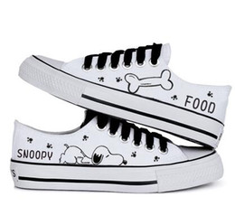 $enCountryForm.capitalKeyWord Australia - 2016 hot sale summer women casual shoe snoopy rascal rabbit hand-painted canvas shoes low shallow mouth black lacing canvas shoes female 33.