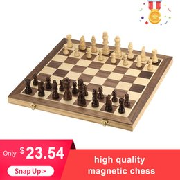 Magnetic board gaMes online shopping - High quality New Foldable Wooden Chess Set Table Board Educational Chess Magnetic Chess Adults International Entertainment Game SH190907