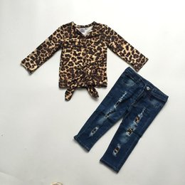 $enCountryForm.capitalKeyWord Australia - new arrivals fall winter baby girls children clothes set outfits boutique leopard milk silk tie knot top pants cotton ruffles