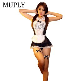 $enCountryForm.capitalKeyWord NZ - MUPLY 2018 New Bow Lace Lingerie Women French Maid Cosplay Sexy Lingerie Hot Transparent Costumes Erotic Lovely Maid Costumes