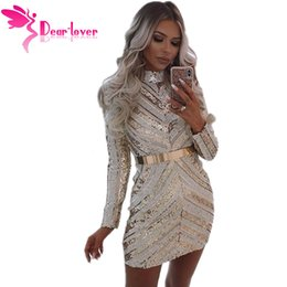 a0d4e6fd64 Dear Lover Fashion Women s Party Gold and Nude Sequin Long Sleeve Mini Dress  Winter Vestidos Mujer 2018