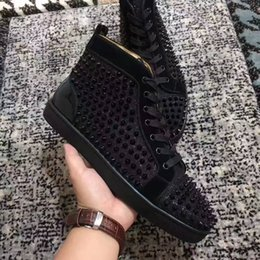 $enCountryForm.capitalKeyWord Australia - 2017New high quality high top black wire mesh with spikes red bottom casual shoes,womens fashion sneakers rock flat shoes size36-46
