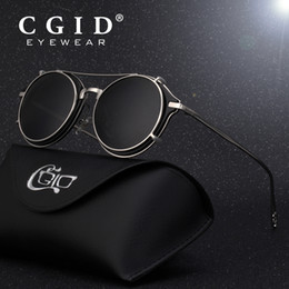 sun glasses shades blue NZ - Cgid 2018 Fashion Men Polarized Sunglasses Round Steampunk Removable Clip On Shades Brand Designer Sun Glass Vintage Metal E76 Y19052004