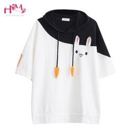 cb242632 Japanese Summer Female Lovely Pink Rabbit T Shirts Cute Carrot Short Sleeve  Anime Bunny Tee Tops Mori Girl Kawaii T Shirt Y19042702
