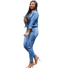 $enCountryForm.capitalKeyWord Australia - New Women's Jumpsuits Fashion Adogirl Vintage Plus Size Jeans Jumpsuit Turn Down Collar Long Sleeve Bandage Denim Rompers Women Bodysuits