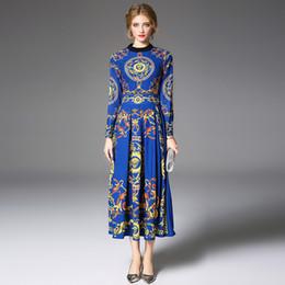 f0c46bb94bc Nueva mujer elegante boho o cuello manga larga vintage azul y amarillo  vestido de la marca maxi dress señora vestidos de fiesta vestidos qp33600