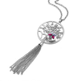 $enCountryForm.capitalKeyWord Australia - 2019 Newly listed jewelry silver tassel necklace rhinestone hollow heart Snap pendant necklace suitable for women with 18mm buttons