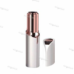 Gold Plates Electric Australia - USB Rechargeable Lipstick Facial Hair Remover Red Mini Portable Body Epilator 18K Gold Plated Women Painless Hair Removal free ship.