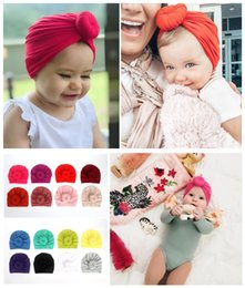 elastic skull cap Canada - 16 colors Donut Baby Newborn Elastic Cotton Baby Beanies Cap Multi color Infant Turban Knot Hats baby headband