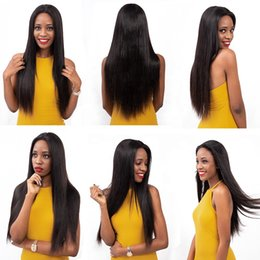 beautiful lace wigs for brazilian hair 2019 - In stock beautiful unprocessed remy virgin human hair long natural color silky straight full front lace cap wig for whit